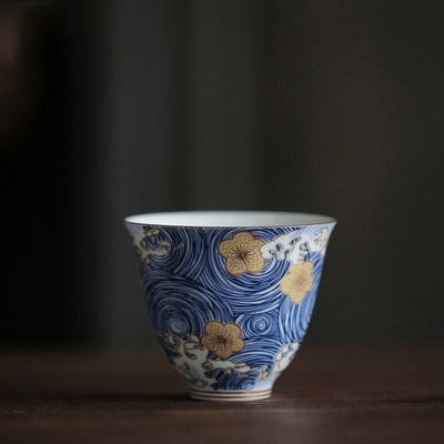 Gold Blossom Blue Swirl Tall Tea Cup