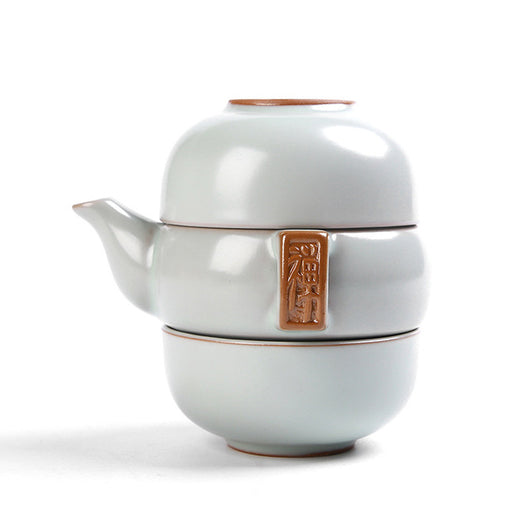 Stacking Travel Tea Set with Two Cups