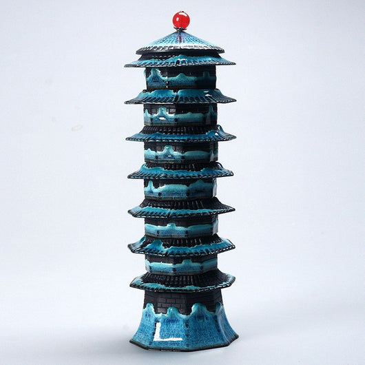 Pagoda Tower Teal and Black Six Cup Gaiwan Tea Set