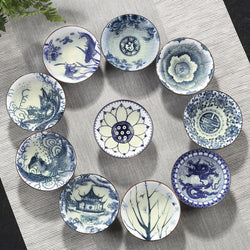 chinese gong fu tea cup set blue and white porcelain dragon pagoda lotus symbol branches peony phoenix blossom flower koi fish