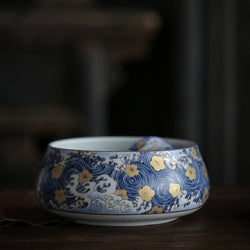 Gold Blossom Blue Swirl Cup Washing Bowl