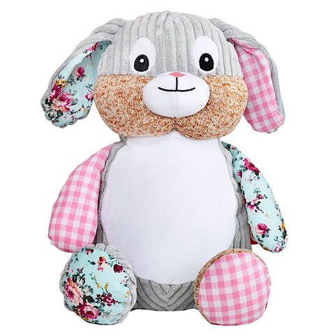 Clovis the Pink Harlequin Bunny Plushie