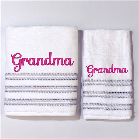 White with grey stripes bath towel and hand towel giftset personalised with a name