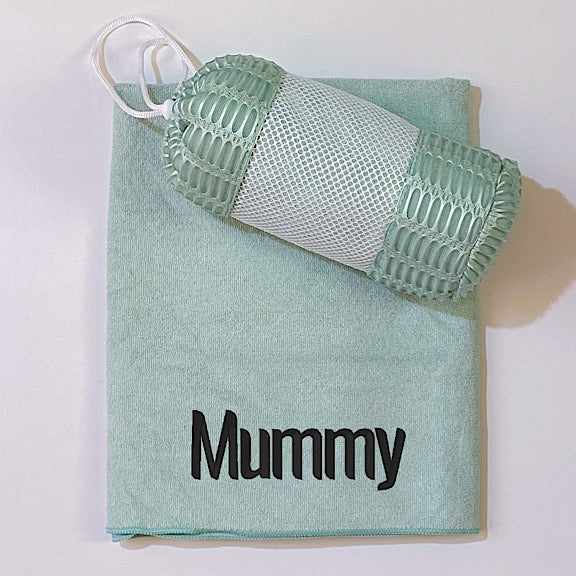 Sage green coloured microfibre sports gym golf towel personalised with a name with mesh carry bag