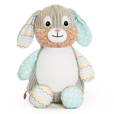 Grey bunny plushie teddy with accent fabric on legs and ears of mint, grey and yellow, with a white belly ready to be personalised