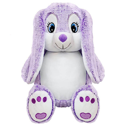 Lilac purple and white bunny plushie teddy with a white belly ready to be personalised
