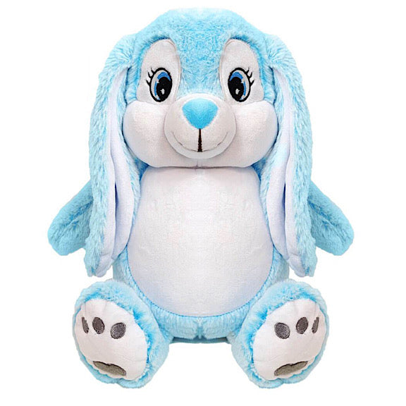 Blue aqua and white bunny plushie teddy with a white belly ready to be personalised