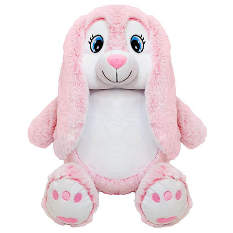 Pink and white bunny plushie teddy with a white belly ready to be personalised