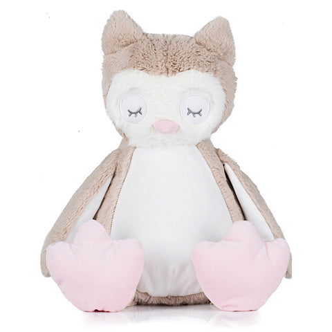 Beige and white owl plushie teddy with pink feet and sleepy eyes with a white belly ready to be personalised