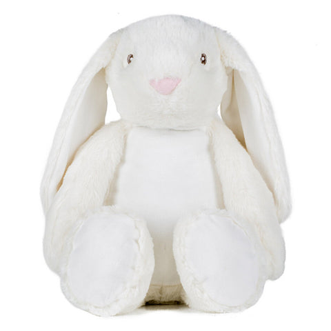 Cream and white bunny plushie teddy  with long floppy ears and with a white belly ready to be personalised