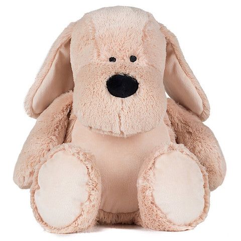 Cream and white puppy dog plushie teddy with white belly ready to be personalised