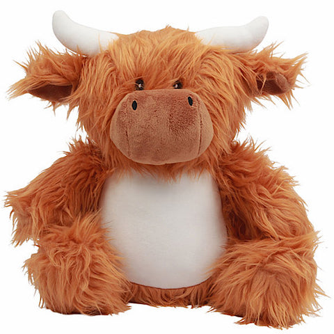 Brown and white highland cow plushie teddy with really shaggy fur and white horns and white belly ready to be personalised