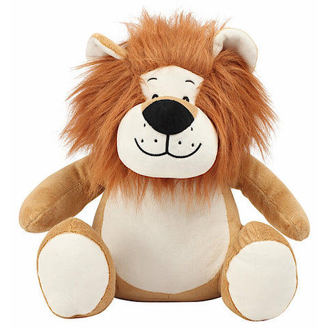 Orange and white lion plushie teddy with extra shaggy brown mane and white belly ready to be personalised