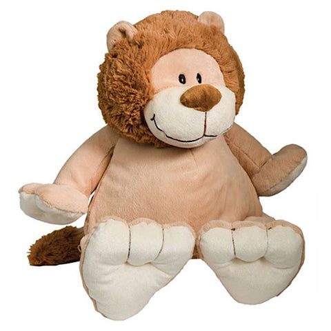Beige lion plushie teddy with fluffy brown mane and large hands and feet ready to be personalised on the tummy