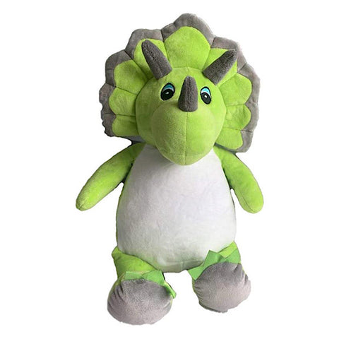 Green and grey triceratops dinosaur plushie teddy with a white belly ready to be personalised