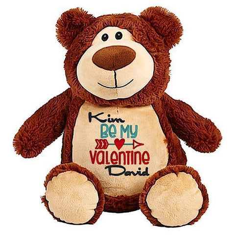 Brown bear plushie teddy with embroidered personalised be my valentine message for Valentines Day