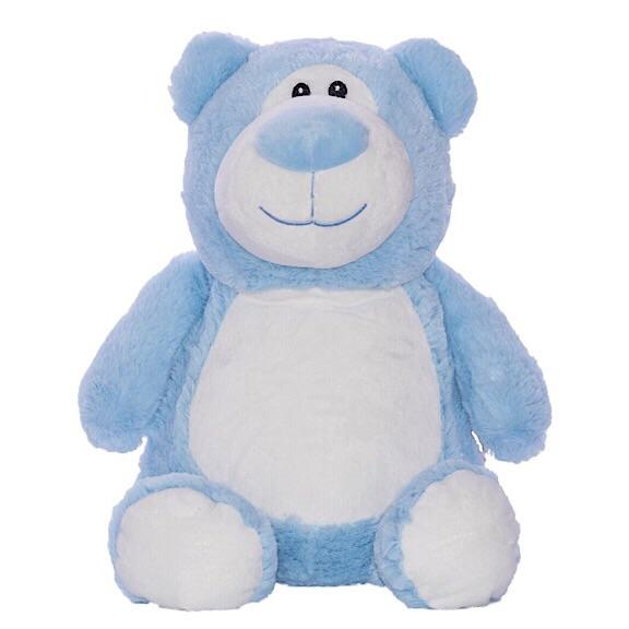 Blue bear plushie with embroidered personalised love heart message