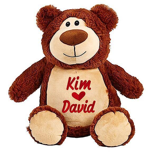 Brown bear plushie teddy with embroidered personalised kim heart David message for Valentines Day