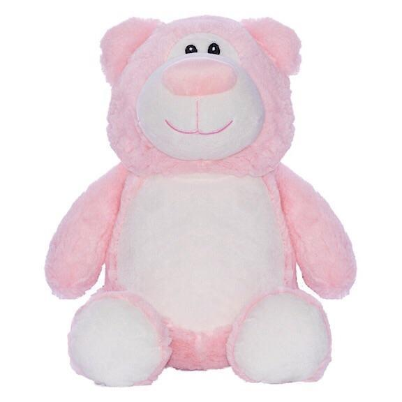 Pink bear plushie with embroidered personalised love heart message