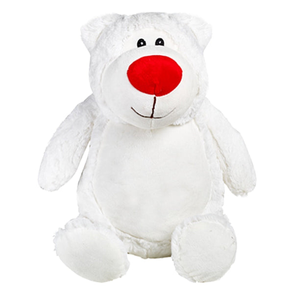 White bear plushie with embroidered personalised love heart message