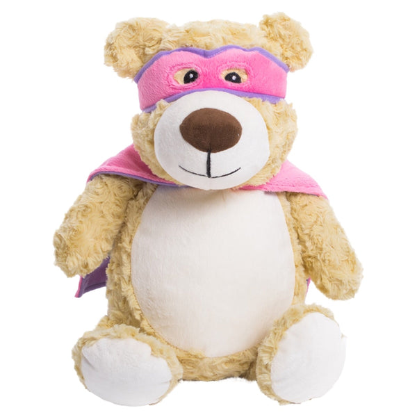 Pink hero bear plushie with embroidered personalised love heart message