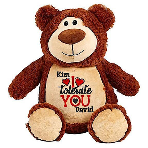 Brown bear plushie teddy with embroidered personalised I Tolerate You message for Valentines Day