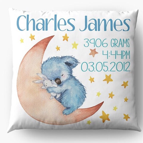 Blue Koala Birth Announcement Cushion