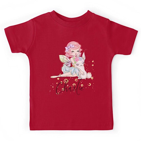 Personalised Fairy Girl with Bunny Tshirt