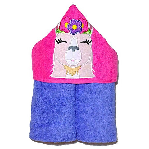 Purple towel with pink hood with girl llama wearing floral crown applique
