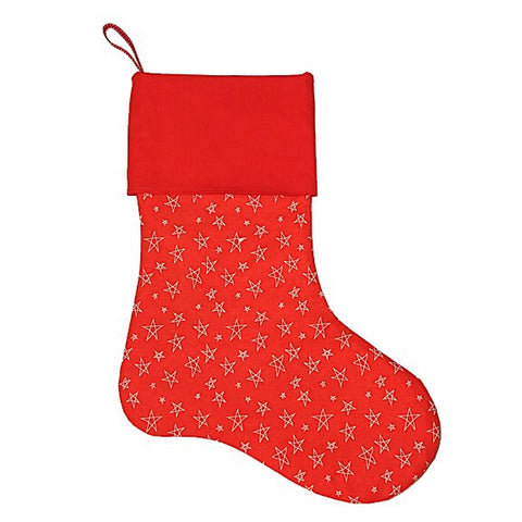 Red with Cream Stars Christmas Stocking