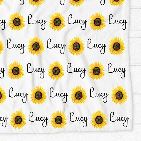 Sunflower Personalised Fleece Blanket