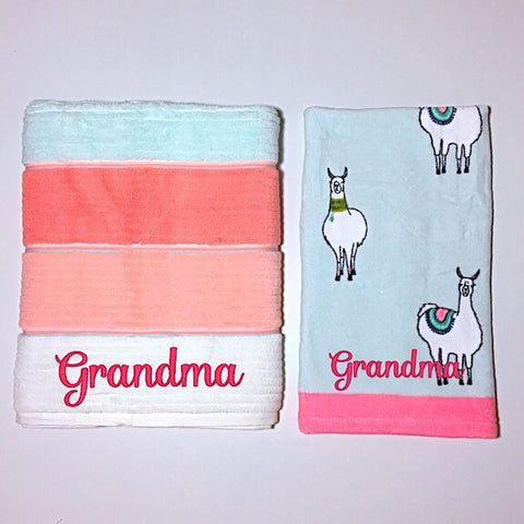 Llama Personalised Bath Towel and Hand Towel Giftset