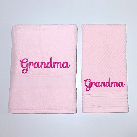 Pale Pink Personalised Bath Towel and Hand Towel Giftset