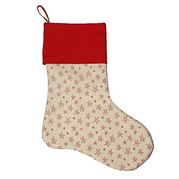 Cream with Red Stars Christmas Stocking