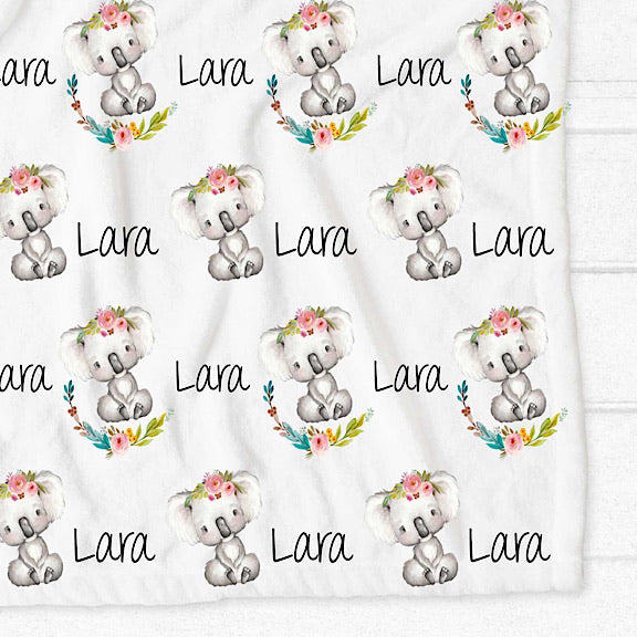 Floral Koala Personalised Fleece Blanket