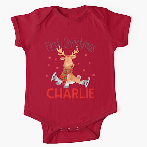 Skating Deer Christmas Onesie/Tshirt