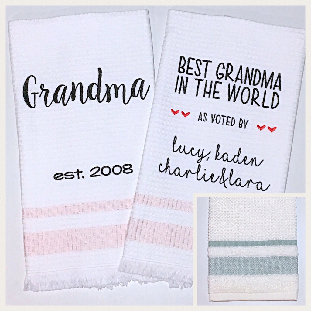 Grandma 2-pack of Tea Towels in Aqua Diamond Stripe