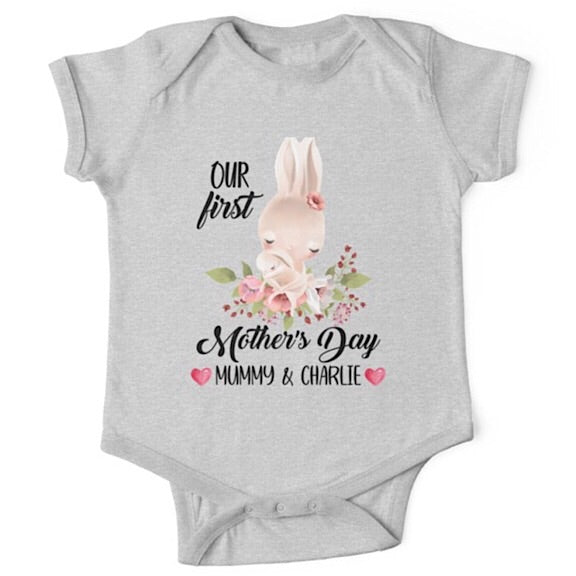 Personalised Bunny First Mother's Day Onesie