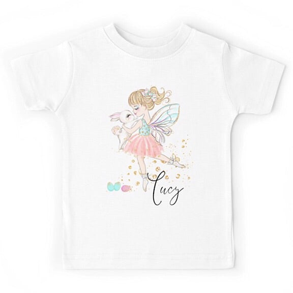 Personalised Fairy Ballerina Dancing with Bunny Tshirt