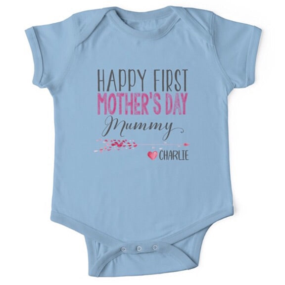 Personalised Lovely Hearts First Mother's Day Onesie