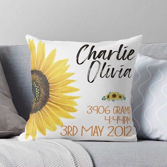 Sunflower Birth Announcement Cushion