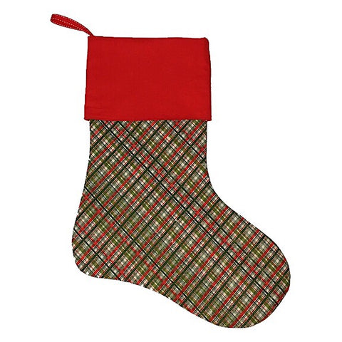 Green, Cream and Red Tartan Christmas Stocking