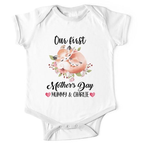 Personalised Fox First Mother's Day Onesie
