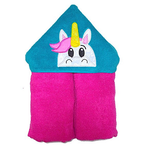 Pink towel with green hood with unicorn head applique on hood