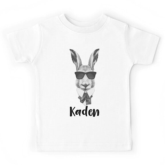 Personalised Hipster Bunny Tshirt
