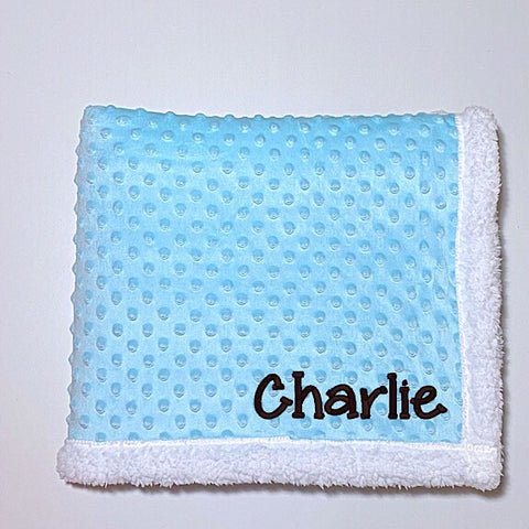 Blue Minky Dot Blanket