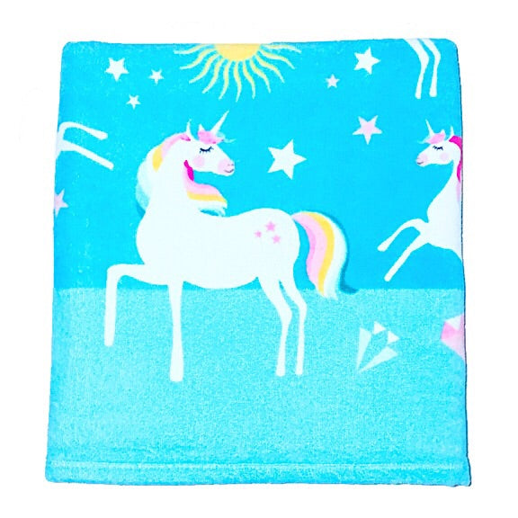 Frolicking Unicorns in Aqua Beach Towel