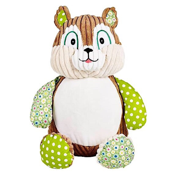 Chester Chubbycheeks the Harlequin Squirrel Plushie