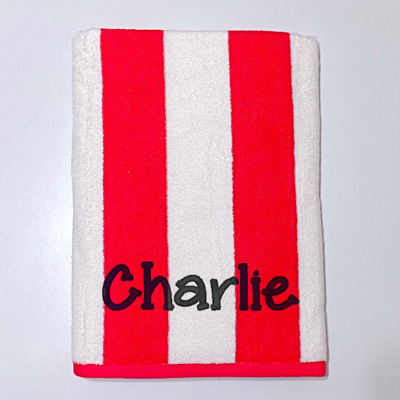 Red Stripe Beach Towel
