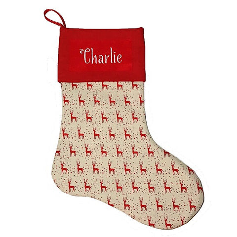 Red Reindeer Christmas Stocking